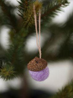 felt balls acorn ornament set of 10 Assorted colors by HoneyCanada