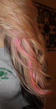 Need it redone. Blonde with dark underneath and pink peekaboos.