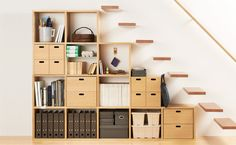 Muji Shelving With Archive Boxes Pinned Into