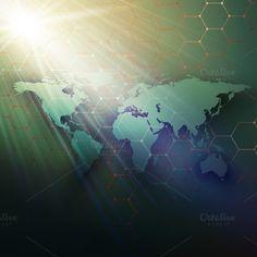Scientific design world maps by VectorShop on @creativemarket