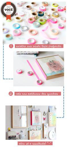 decorar quadro com washi tape