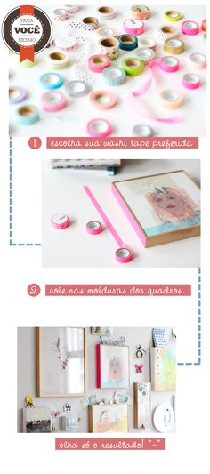 decorar quadro com washi tape