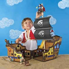 Toy Wood Pirate Ship & Play Set from One Step Ahead