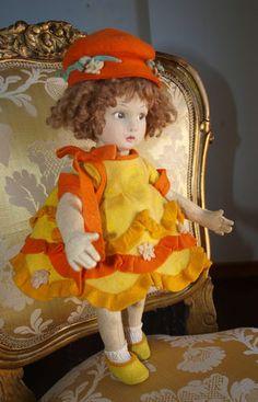 "13"" Rare Very Cute 1920s Child LENCI Doll 450 Series"