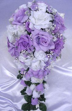 "Free Shipping Wedding Bouquet Bridal Silk flower LAVENDER SILVER WHITE Cascade 21 pcs Decoration centerpieces ""RosesandDreams"" on Etsy, $209.99"