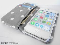 DIY Ruffled iPhone Wallet Tutorial at my3monsters.com But maybe without the ruffle--just elastic band for closure
