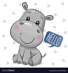 Cute Cartoon Pictures, Cute Cartoon Drawings, Cute Images, Cartoon Art, Cartoon Hippo, Cute Cartoon Animals, Cute Animals, Cute Hippo, Baby Hippo