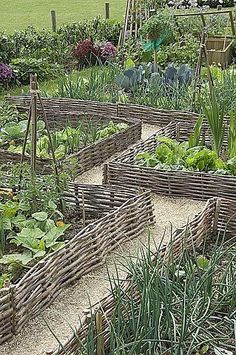 Vegetable Garden Landscaping Wattle which is created through weaving of sticks is also one of the coolest and creative raised garden bed ideas and plans. Wattle Raised Beds - 5 Easy DIY Raised Garden Bed Ideas and Plans - Garden Landscaping Watt Potager Garden, Garden Fencing, Garden Landscaping, Garden Pond, Garden Plants, Permaculture Garden, Big Garden, Garden Shop, Balcony Garden