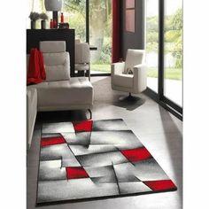 Matière : 100% polypropylène - Dimensions : 200x290 cm - Coloris : rouge, noir et gris