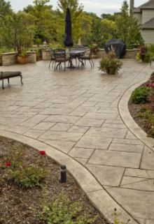 Most Beautiful Stamped Concrete Outdoor Patio Ideas – Stained, Stamped, Scored and Vibrant Stamped Concrete Driveway, Concrete Backyard, Concrete Patio Designs, Cement Patio, Backyard Patio Designs, Backyard Landscaping, Patio Ideas With Concrete, Deck To Patio Ideas, Stamped Concrete Colors