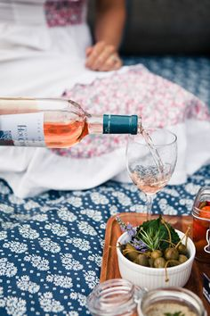 Provencal Picnic.Lillet and Rosé were two of their favorite French aperitifs followed by the elderflower liqueur St. Germain. All three make for light, summery, sweet spirits for a picnic and can be easily be cut with soda water for a sparkling spritzer.