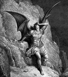 """Gustave Dore, """"Depiction of Satan in Paradise Lost"""" (ca. 1866)"""