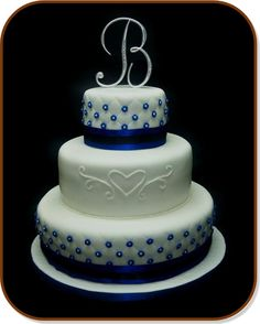 Love The Middle Tier With Perhaps Pewter Number For Anniversary Cake And Pics Find This Pin More On Royal Blue Wedding