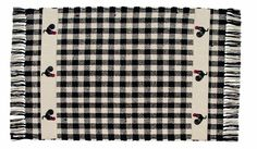 """New Primitive Country Kitchen Red Rooster Area Rug Black Cream Check 24"""" x 42"""" 