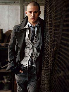 Channing Tatum in grey layered menswear fashion