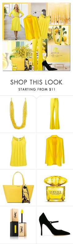 """""""Hello Sunshine"""" by krystalkm-7 ❤ liked on Polyvore featuring ADAM, Design Lab, Rochas, F.IT, Love Moschino, Versace, Yves Saint Laurent and Tabitha Simmons"""