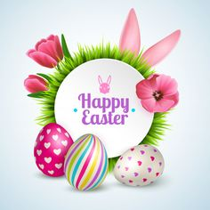Happy easter composition with traditional symbols colorful eggs rabbit ears and spring flowers realistic , Happy Easter Banner, Happy Easter Wishes, Happy Easter Day, Easter Art, Easter Crafts, Easter Bunny, Easter Monday, Easter Weekend, Ostern Wallpaper