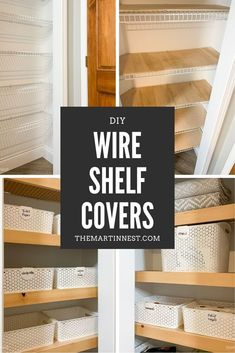 A budget friendly DIY solution for how to cover wire shelving. Renter friendly option and easy to DIY if you don't want to replace the existing shelving. Architecture Renovation, Home Renovation, Home Remodeling, Cheap Renovations, Closet Renovation, Kitchen Remodeling, Do It Yourself Design, Do It Yourself Home, Do It Yourself Furniture
