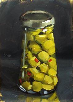 """""""Jar of Olives"""" - Original Fine Art for Sale - © Karen Boe"""