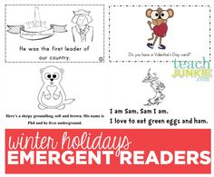 Winter Holidays Emergent Readers - Teach Junkie :: President's Day, Valentine's, Groundhog Day, Dr. Seuss