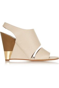 Chloé Textured-leather wedge sandals | NET-A-PORTER