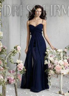 Sexy Split Front A-line Spaghetti Straps Floor-Length Bridesmaid Dress $69.99