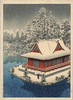 Kawase Hasui (1883-1957): Night view of Benten Shrine Snow at Inokashira Park, 1928