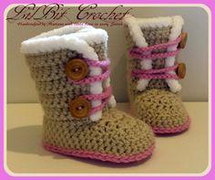 Handmade Crochet Baby Girl Snow Boots / Pram by LilBitCrochet