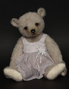 "Paloma - 14"" inch girl bear made from semi - sparse dove grey mohair."