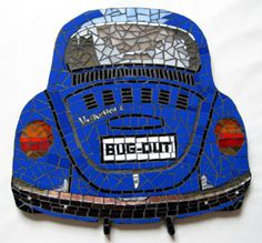 Volkswagen Beetle Bug Out Stained Glass Mosaic Tile