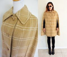 Vintage 70's wool cape check nude cream creme beige by RebelCloset