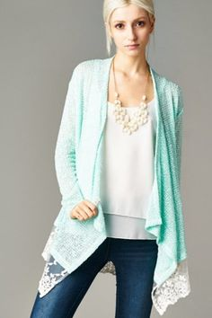 Gracie Cardigan in Mint | Women's Clothes, Casual Dresses, Fashion Earrings & Accessories | Emma Stine Limited