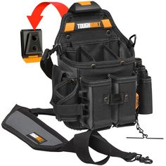 The TOUGHBUILT Journeyman Electrician Pouch and Shoulder Strap transform how professional electricians carry their tools. The patented ClipTech Hub allows the pouch to clip on and off any belt, hang from Ankle Strap Heels, Ankle Straps, Electrician Tool Pouch, Electrician Work, Work Belt, Work Pants, Electrical Tools, Shoulder Strap Bag, Woodworking Shop