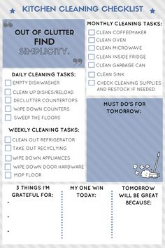 Get a FREE Kitchen Cleaning Checklist and keep a clean kitchen effortlessly!