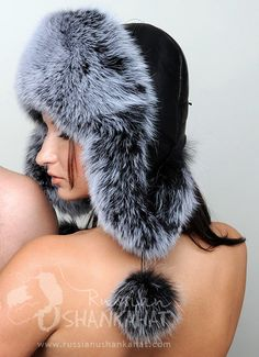 Russian Polar Fox Fur Ushanka + Poms Trapper Bomber Hat Silver Ladies