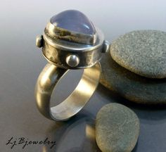 OOAK Ring, Sterling Silver, Blue Chalcedony, Hollow Form, US Size 7.5