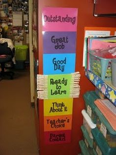 It gives students the opportunity to move up the chart with good behavior instead of merely punishing the negative. I use this in my room except I have mine on a yard stick to make it portable. Really good classroom management tool :)