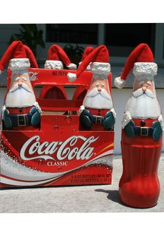 Little Santa Hats on plain bottles of soda, juice, water would be so, so adorable as a White Elephant gift!!