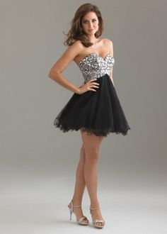 Short Strapless Rhinestone Top Black Prom Dress