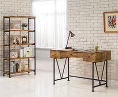 Coaster Barritt Industrial Style Writing Desk with 3 Drawers - Coaster Fine Furniture