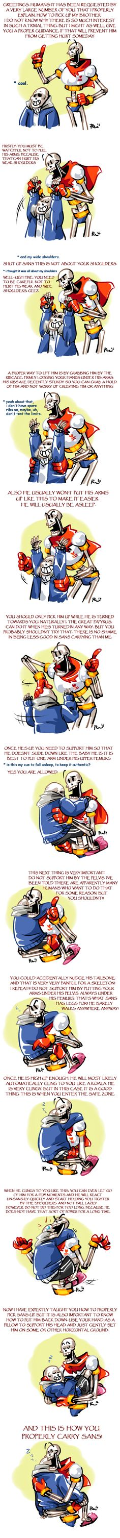Undertale ask blog: A GUIDE TO CARRYING SANS by bPAVLICA on DeviantArt// someone put great effort into drawing this. and. i just.