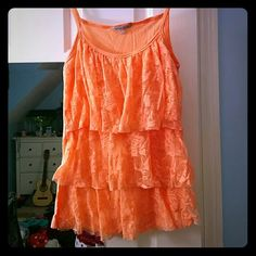 Charlotte Russe Peach/Orange Layered Lace Tank Peach or light orange tank top from Charlotte Russe. XSmall with three layers of flowered lace on the front, and soft solid back. NO Trades NO PayPal Charlotte Russe Tops Tank Tops