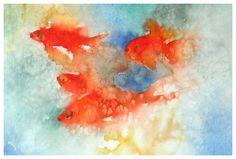 Enrico del Lazzaro - Pesci rossi. Acquarello su carta dimensine cm. 48x33