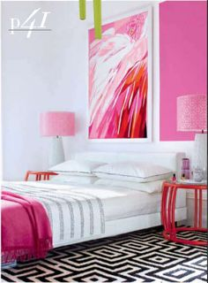 flickr fav. Love this room. large pink painting. Hot pink throw. Like the rug but not for bed