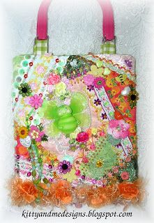Crazy Quilting and Embroidery Blog by Pamela Kellogg of Kitty and Me Designs: Pink Bee Crazy Quilt Purse