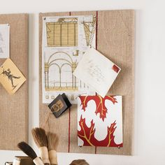 W5403Red Stripe Feed Sack Message Board Wall Decor;  cutesy organization gets me every time