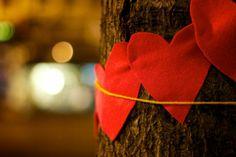 Valentine's Day yarn bombing