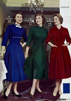 Stylish daywear dresses from Kays Catalog Autumn/Winter, 1957. Colors: royal blue, hunter green, ruby red.