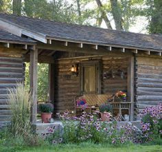 """Rustic cabin breezeway (known as a """"dog-trot in the South) Cabin In The Woods, Log Cabin Homes, Log Cabins, Rustic Cabins, Little Cabin, Breezeway, Cabins And Cottages, Small Cabins, Small Log Cabin"""