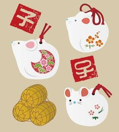 china new year New Year elements - mouse dolls and Chinese zodiac sign stamps and bag of rice , Chinese New Year Design, Chinese New Year Crafts, Chinese New Year 2020, Happy Chinese New Year, Chinese New Year Decorations, New Years Decorations, China, New Year Illustration, New Year Art